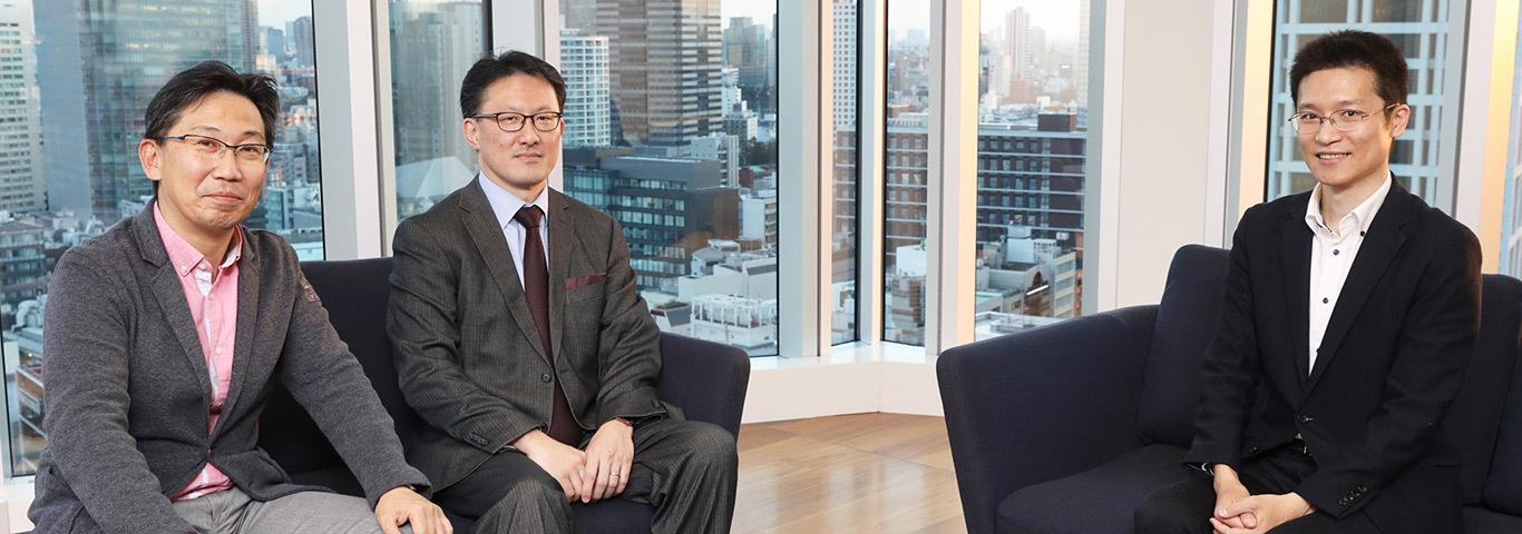 Right: Hiroshi Kawaguchi, Center: Noboru Nakatani,Left: Yuji Umemura